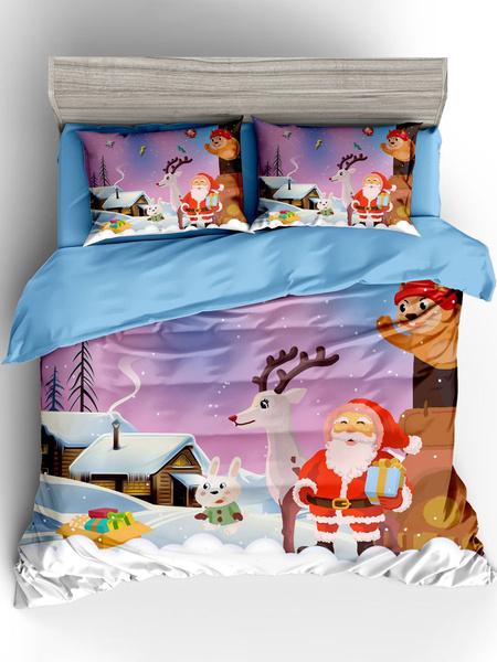 Milanoo Juego de ropa de cama navideña de 3 piezas de fibra de poliester, sabana blanca, funda nordica, funda de almohada, suministros para el dormito
