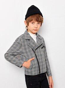 Boys Pocket Side Glen Plaid Biker Jacket