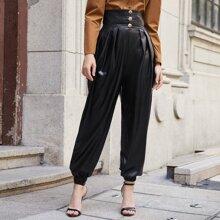 Gold Buttoned Wide Waistband Waist PU Leather Pants