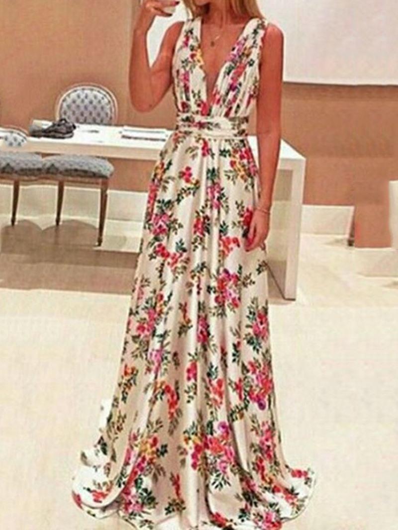 Ericdress Sleeveless Print V-Neck A-Line Mid Waist Dress