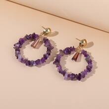 Stone Beaded Drop Earrings