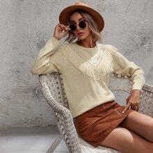 Pullover mit rundem Kragen und Fransen