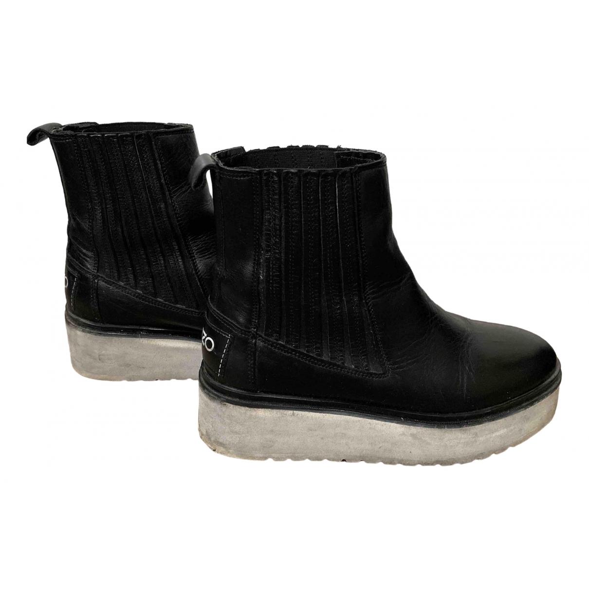 Kenzo - Boots   pour femme en cuir - noir