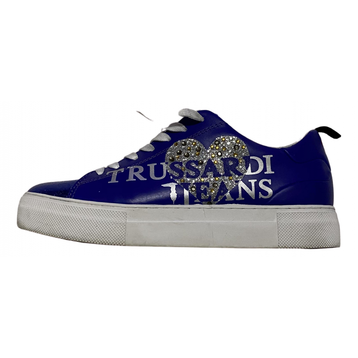 Trussardi Jeans N Blue Leather Trainers for Women 37 IT