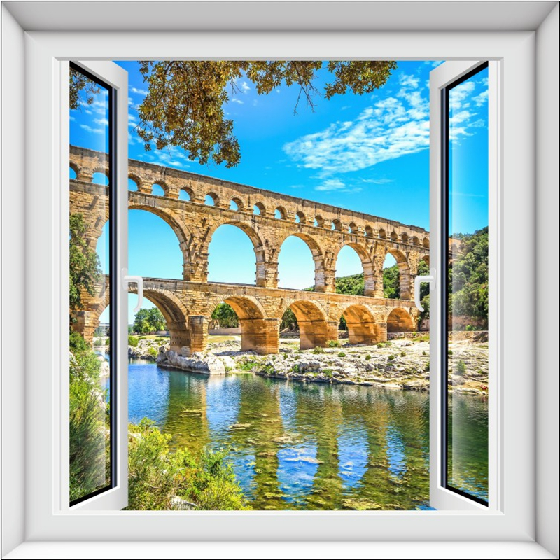 Stunning Arch Bridge above the River Window View 3D Wall Stickers