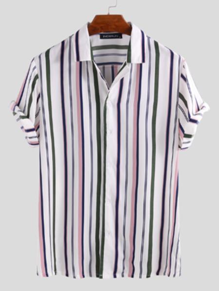 Yoins INCERUN Men Multi Color Striped Shirt