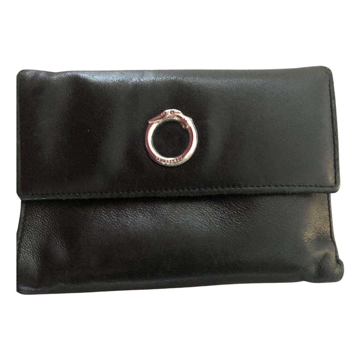 Trussardi \N Portemonnaie in  Schwarz Leder