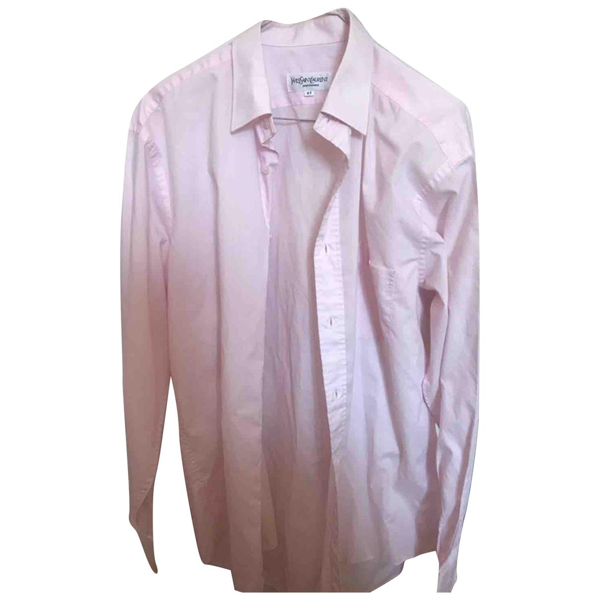 Yves Saint Laurent \N Pink Cotton Shirts for Men 41 EU (tour de cou / collar)