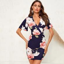 Kleid mit V Kragen, Glockenaermeln und Blumen Muster