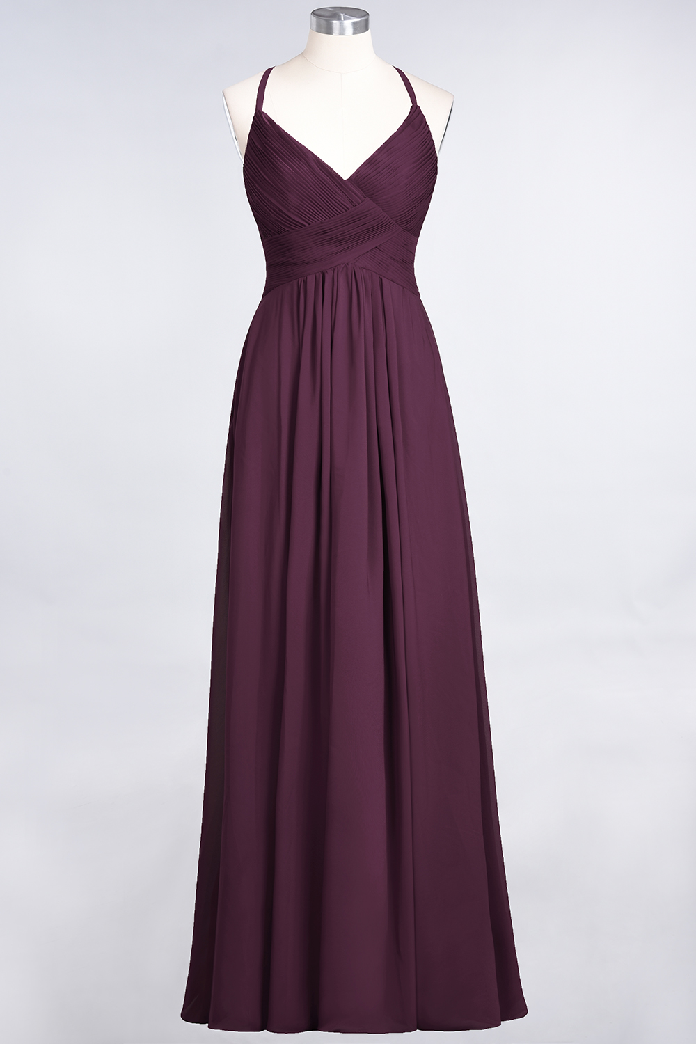 BMbridal Affordable Chiffon Ruffle V-Neck Bridesmaid Dress with Spaghetti Straps