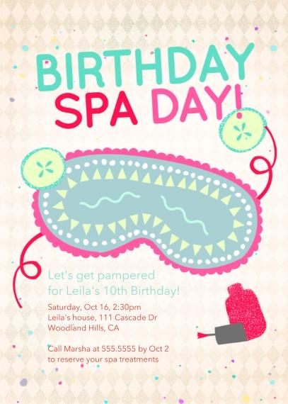 Kids Birthday Party Invites 5x7 Folded Cards, Standard Cardstock 85lb, Card & Stationery -Birthday Spa