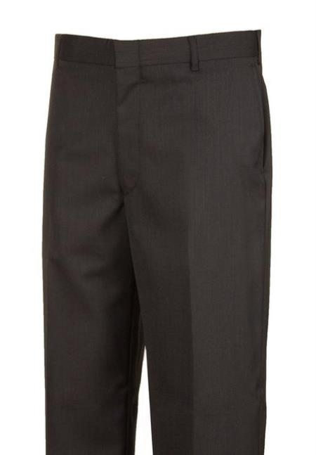 Harwick Clothing Manufacturers America Black Plain Front Dress Pants