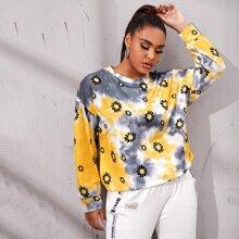 Plus Tie Dye & Floral Print Sweatshirt