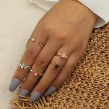 5pcs Rhinestone Decor Ring