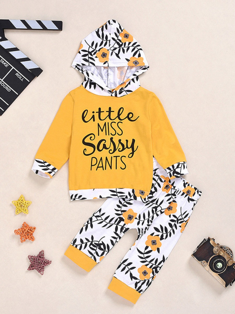 LW lovely Casual Hooded Collar Plants Print Patchwork Yellow Girl Two-piece Pants Set
