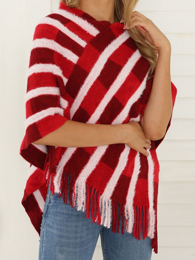Ericdress Knitted Fabric Western Color Block Spring Cape