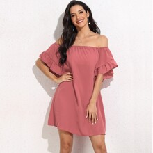 Solid Flounce Sleeve Bardot Dress