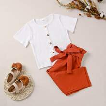 Toddler Girls Button Front Tee With Paperbag Pants