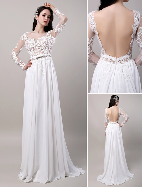 Milanoo Boho Beach Sheer Lace Chiffon Tulle Long Sleeves Deep V Back Backless Bridal Gown