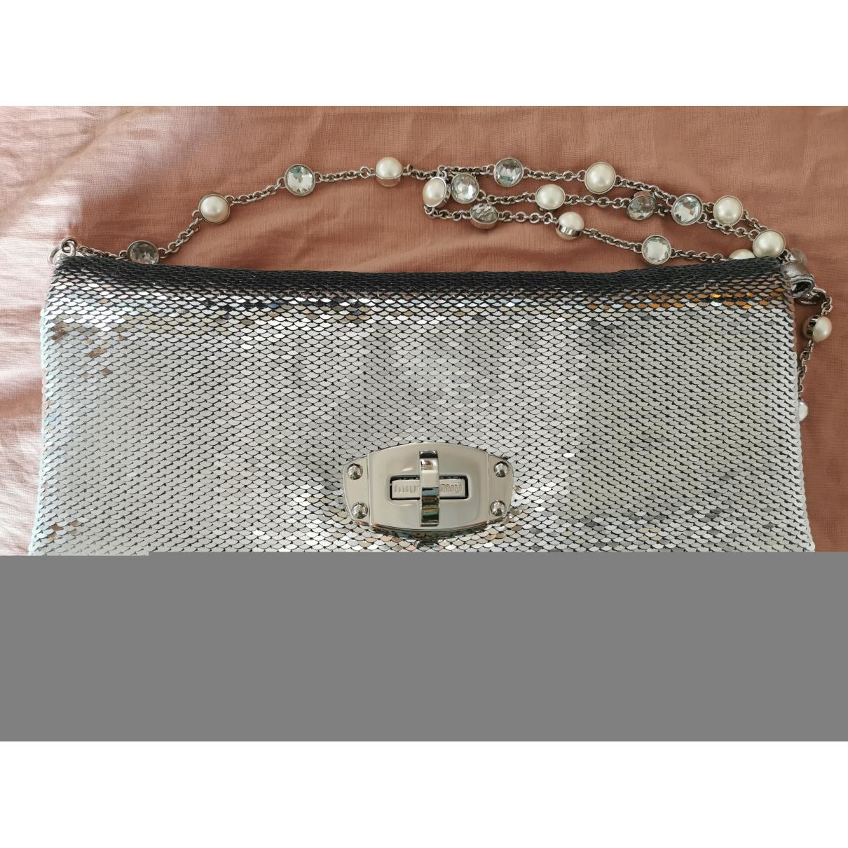 Miu Miu Miu Crystal Handtasche in  Silber Mit Pailletten