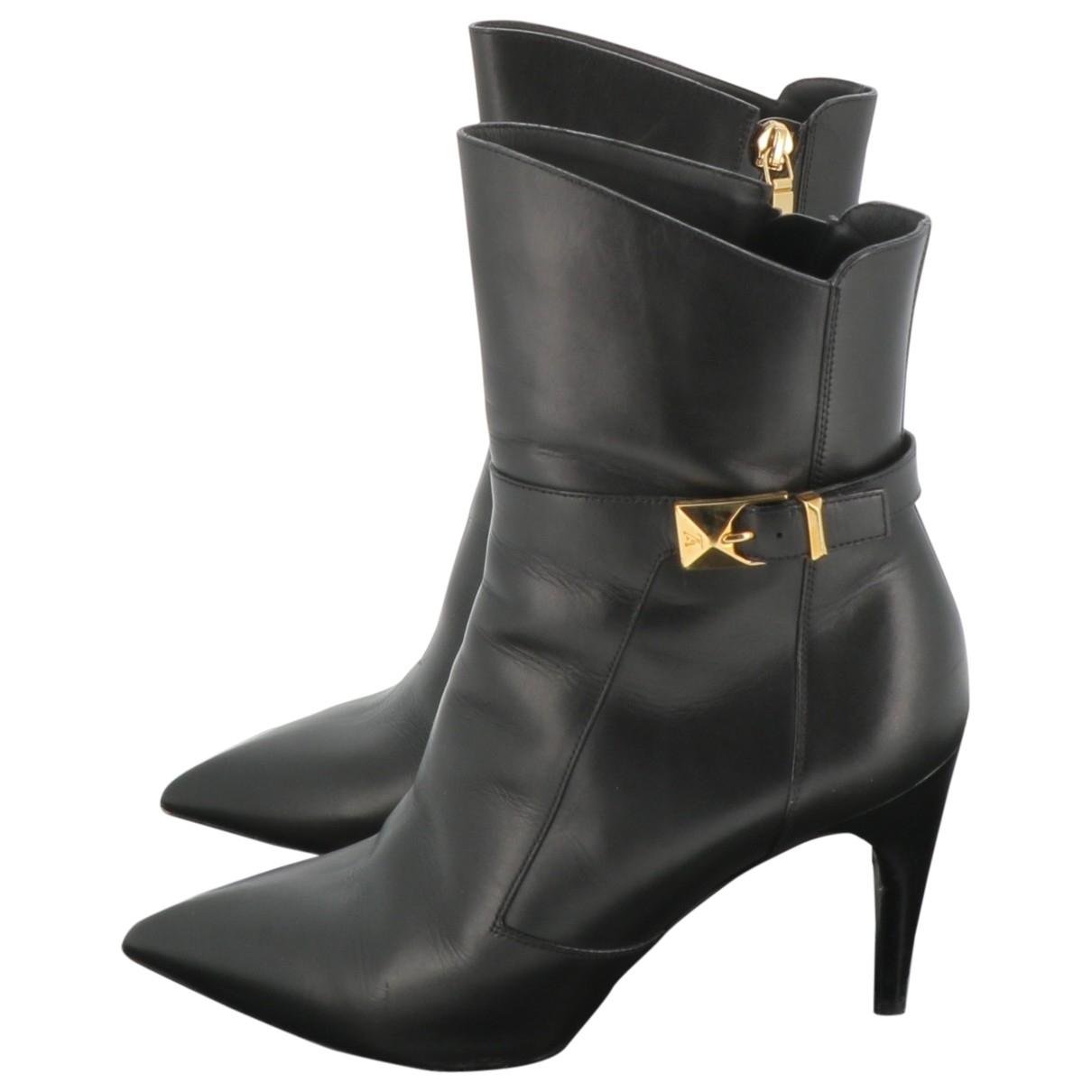 Louis Vuitton \N Black Leather Ankle boots for Women 38.5 EU