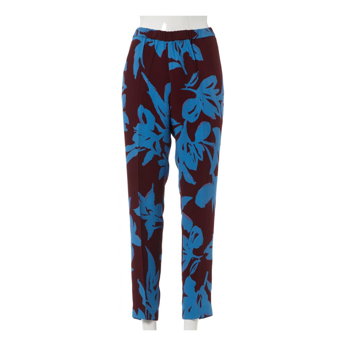 Dries Van Noten \N Blue Silk Trousers for Women 38 FR