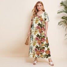 Plus Allover Floral Smock Dress