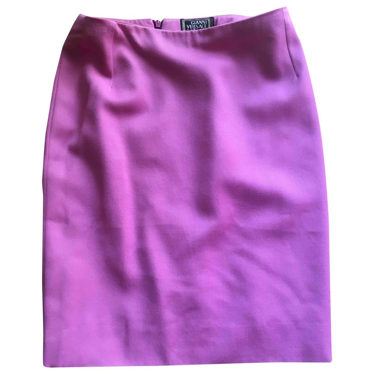 Gianni Versace \N Pink Wool skirt for Women 44 IT