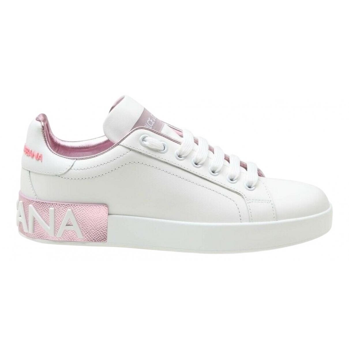 Dolce & Gabbana - Baskets Portofino pour femme en cuir - blanc