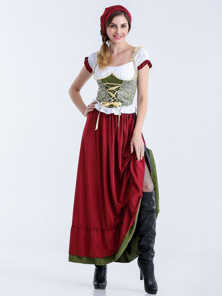 Milanoo Oktoberfest Red Dress Holloween Costume For Women Halloween