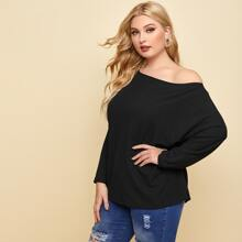 Plus Solid Batwing Sleeve Ribbed Tee