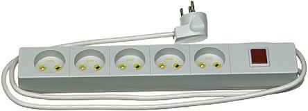 LK 1.5m 5 Socket Type K - Danish Extension Lead, 250 V, Grey
