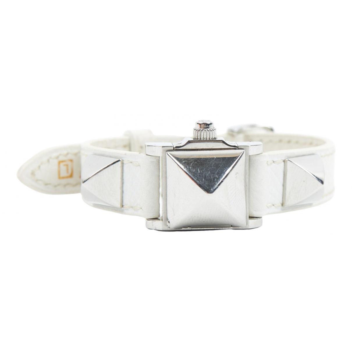 Hermes Medor Uhr in  Weiss Stahl