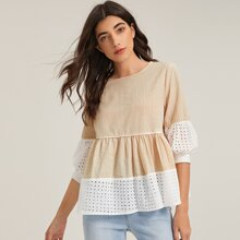 Eyelet Embroidered Trim Striped Top