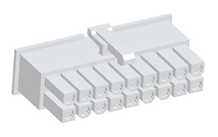 TE Connectivity , VAL-U-LOK Female Connector Housing, 4.2mm Pitch, 18 Way, 2 Row (10)