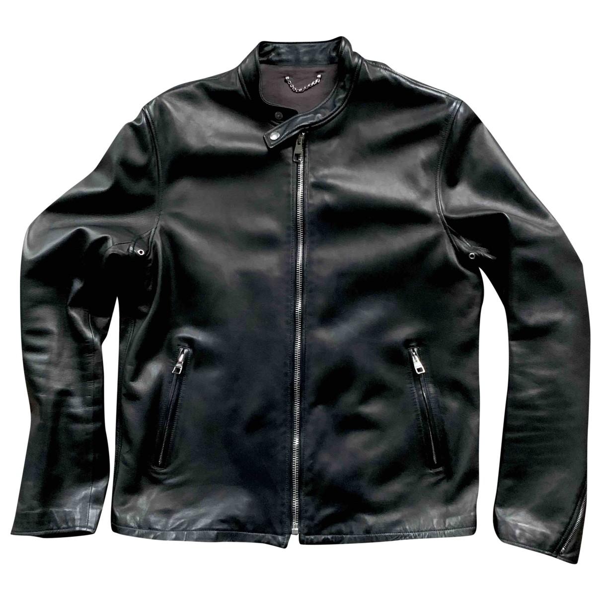 Louis Vuitton \N Black Leather jacket  for Men 54 FR