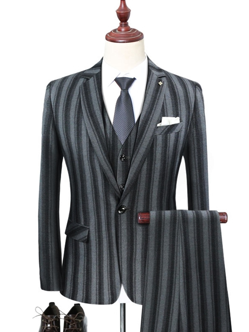 Ericdress Vertical Striped Blazer Pants & Vest Mens 3 Pieces Suits