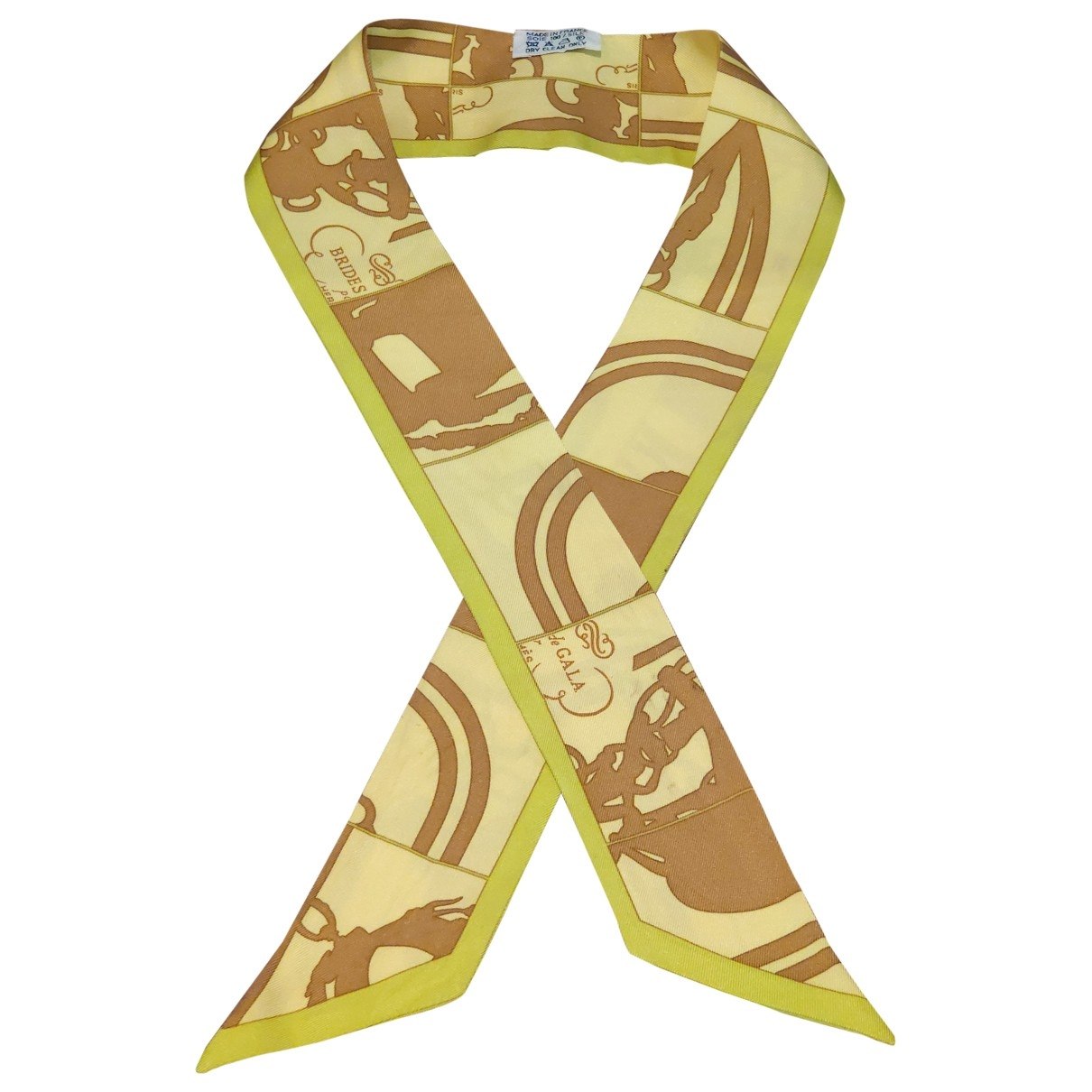 Hermes - Foulard Twilly 86 pour femme en soie - jaune