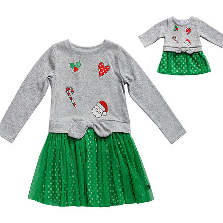 Dollie And Me Little & Big Girls Long Sleeve Party Dress, 8 , Green