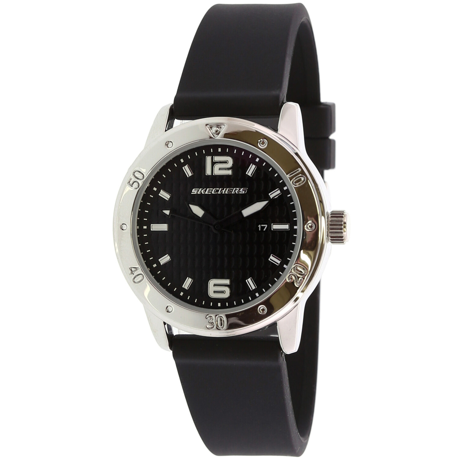 Skechers Watch SR6049 Redondo, Quartz Analog Display, Water Resistant, Day and Date Display, Silicone Band, Black