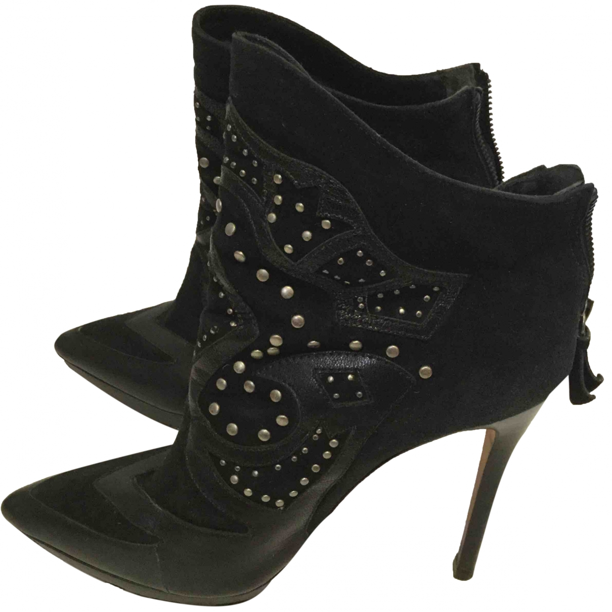 Alice & Olivia \N Black Suede Ankle boots for Women 38 EU