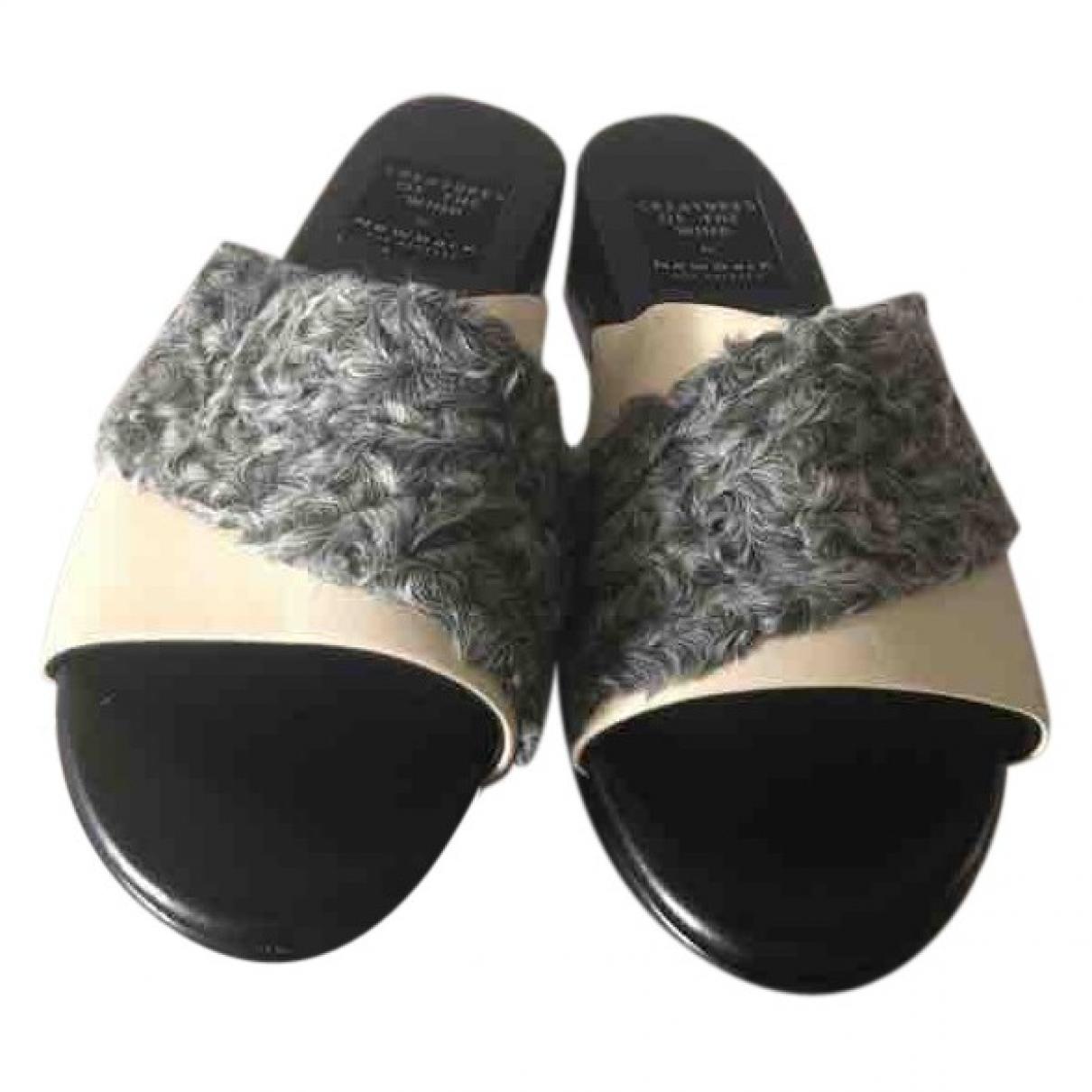 Newbark \N Grey Fur Mules & Clogs for Women 9 US