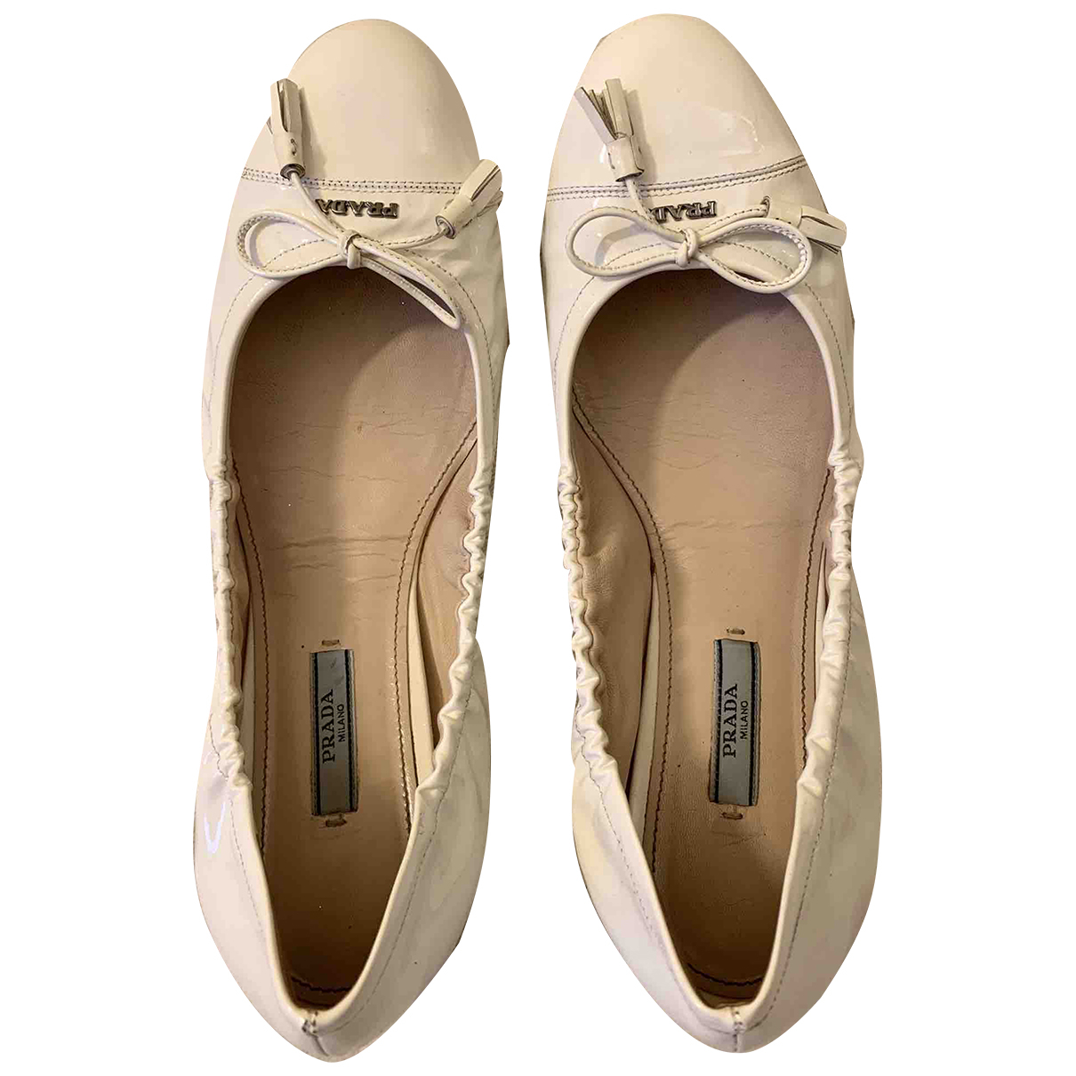 Prada N White Leather Ballet flats for Women 41 EU