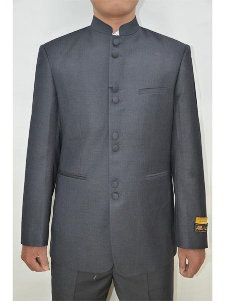 Mens Eight Button Mandarin Banded Collar Charcoal Suits