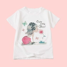 Toddler Girls Figure & Letter Graphic Tee
