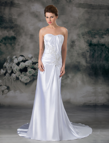 Milanoo Chapel Train White Ruched Sheath Wedding Dress with Sweetheart Neck
