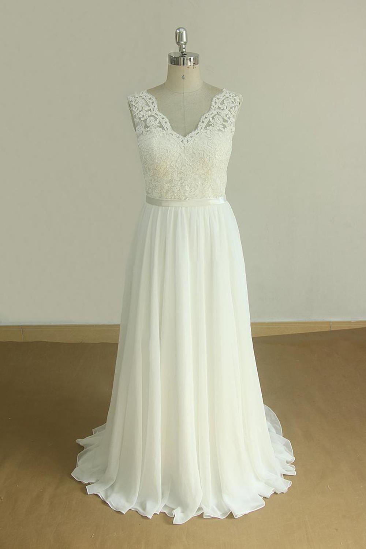 BMbridal Elegant V-neck Sleeveless Lace Wedding Dresses White A-line Chiffon Bridal Gown On Sale