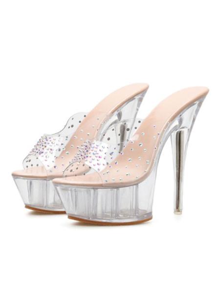 Milanoo Womens Wedge Sandals PVC Upper Open Toe Transparent Clear Platform Heels Shoes