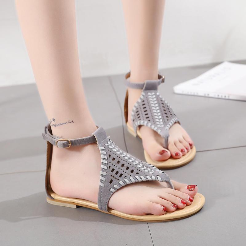 Women BohemianHollow Out Woven Flat Sandals