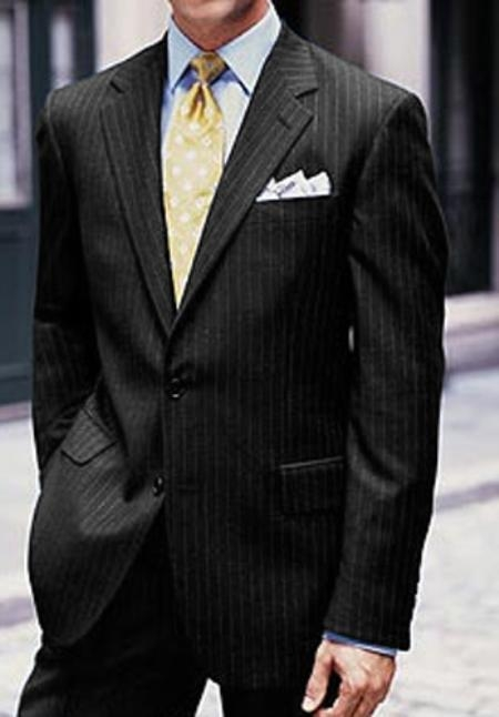 2 or 3 Button Supers Wool Black MultiStripe Suit